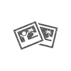 Picture file format icon in grunge texture. Vintage style vector illustration.