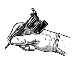 Hand with tattoo machine. Design element for poster, card, t shirt, emblem, sign.