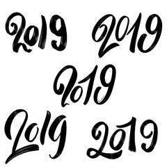 2019 new year. Set of hand lettering phrases on white background. For poster, print, card, banner.