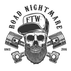Road nightmare. Hipster skull in baseball cap with crossed pistons. Design element for logo, label, emblem, sign, poster, t shirt.