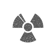 Radioactive symbol icon in grunge texture. Vintage style vector illustration.