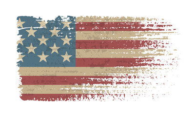 Flag of the USA. Vintage American flag grunge style.