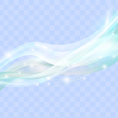 Abstract wave isolated on transparent background. Light effect. Vector illustration