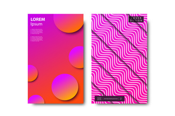 Vector set of realistic isolated brochure with liquid and lava lamp shapes design for decoration and covering on the white background.