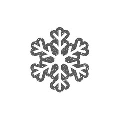Snowflake icon in grunge texture. Vintage style vector illustration.