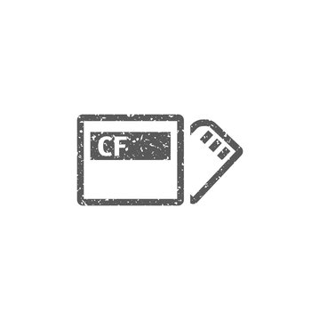 Compact flash and SD card icon in grunge texture. Vintage style vector illustration.