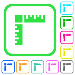 Page rulers vivid colored flat icons