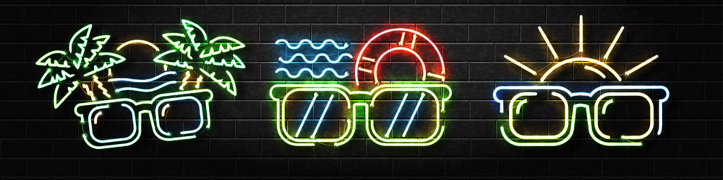 Vector set of realistic isolated neon sign of Summer logo with sunglasses and palms for decoration and covering on the wall background. Concept of happy vacation and summer party.