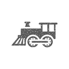 Locomotive toy icon in grunge texture. Vintage style vector illustration.