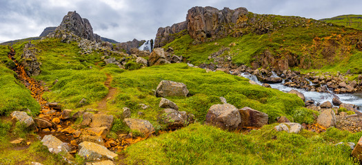 Panoramic view of beautiful fjord landscape near Seydisfjordur in Eastern Iceland, summer time