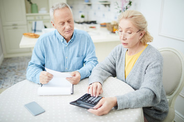 Mature wife with calculator and her husband making calculations of the last month expenses