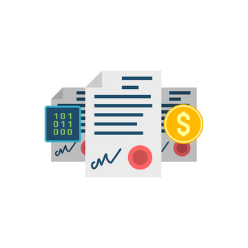 Smart Contract Concept, Dollar, Binary Code Flat Vector Icon. Isolated on White Background.