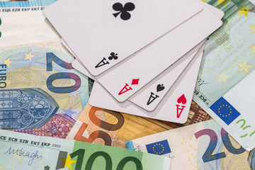 Combination of four aces on euro banknotes