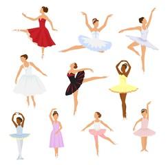 Ballet dancer vector ballerina woman character dancing in ballet-skirt tutu illustration set of classical ballet-dancer girl isolated on white background