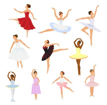 Ballet dancer vector ballerina woman character dancing in ballet-skirt tutu illustration set of classical ballet-dancer girl isolated on white background