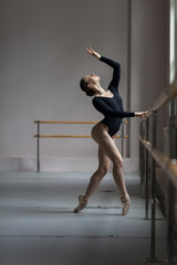 Beuatiful ballerina training in the class
