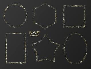 Set of gold glitter frames with sparkles on black background.Vector illustration