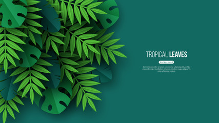 Exotic jungle tropical palm leaves. Summer floral design with green color background. Vector illustration. Wall mural