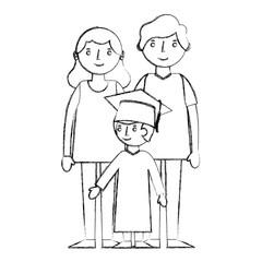 happy parents and school graduate boy vector illustration sketch