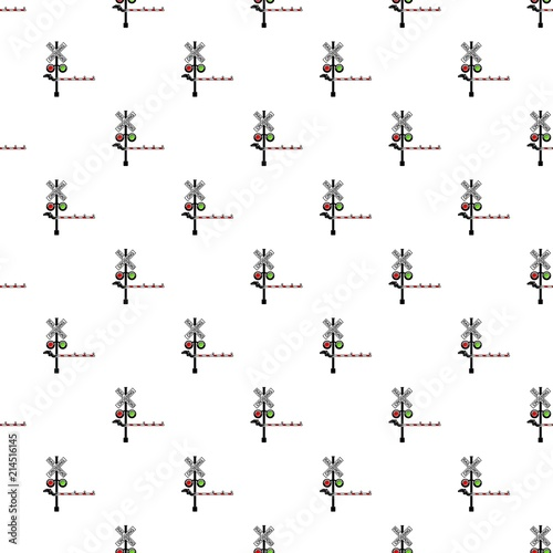Rail crossing signal pattern vector seamless blue repeat for any use