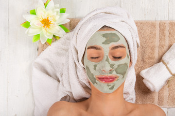 Young healthy woman with face mask.