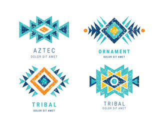 Colorful Aztec style ornamental geometric logo set. Indian ornate design. Tribal decorative templates. Ethnic ornamentation. Grungy shabby chic hipster texture. EPS 10 vector illustration.