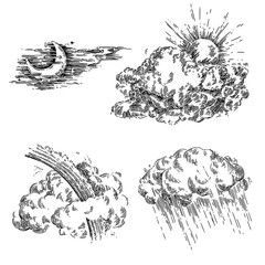 Vintage set of weather. Sun, clouds, moon, rain, rainbow and storm. Sketch. Engraving style. Vector illustration.