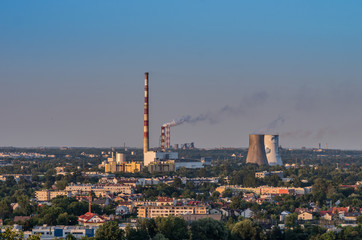 Power plant in the evening, Krakow Poland