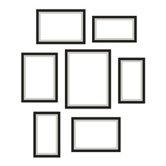 Photo frame template vector set hanging on wall. Empty frames for wall printed art.