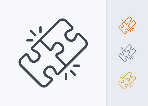 Locked Puzzle Pieces - Pastel Stroke Icons