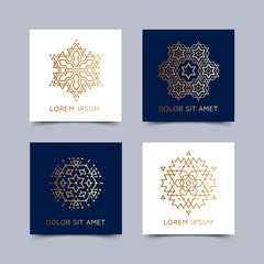 Vintage style blue and white flyer set inspired by sacred geometry. Blanks with golden sacral geometric occult cosmic signs. Line art logo design. Brochure pattern. Ornamental leaflet. EPS 10