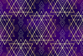 Gold violet seamless sacred geometry pattern. Golden sacral geometric occult cosmic line art signs for fabric prints, surface textures, cloth design, wrapping. EPS10 vector gradient mesh backdrop.