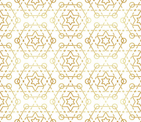 Gradient gold white seamless sacred geometry pattern. Golden sacral geometric occult cosmic line art signs for fabric prints, surface textures, cloth design, wrapping. EPS10 vector backdrop.