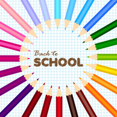 Back to school greeting card with colorful pencils. Vector