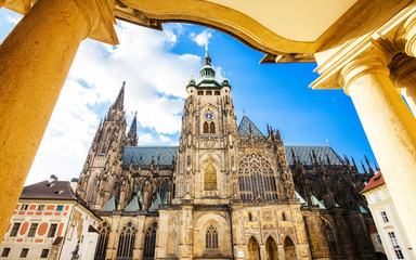 Wall Mural - View of St. Vitus cathedral in Prague
