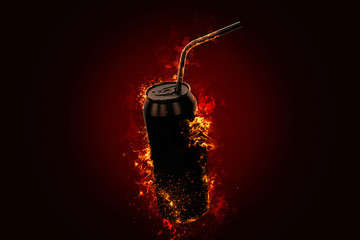 Flaming energy drink tin can. 3D illustration