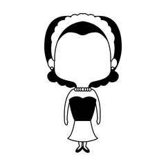 Beautiful midget woman with flowers headband cartoon vector illustration graphic design