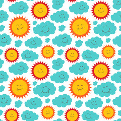 Funny sun and clouds. Seamless vector pattern in childish style.