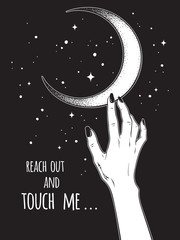 Female hand reaching out to the Moon vector illustration. Black work, dot work, line art, flash tattoo, poster or print design.