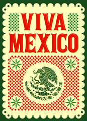 Viva Mexico mexican holiday vector poster, street decoration illustration.