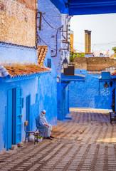 Deurstickers Marokko Beautiful street of blue medina in city Chefchaouen, Morocco, Africa.