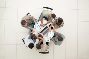 top view.business team discussing financial issues