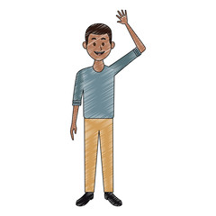 Young black man with casual clothes cartoon vector illustration graphic design