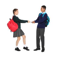 Teenagers in stylish school uniform on white background