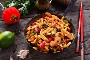 Asian food - bami goreng noodles