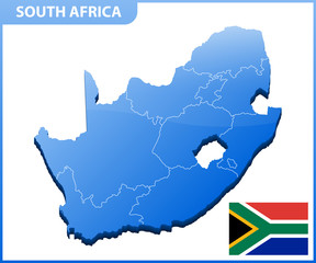 Highly detailed three dimensional map of South Africa. Administrative division.