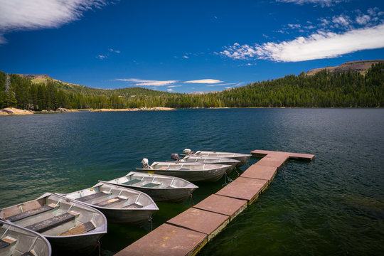 Lake Alpine With Aluminum Fishing Boats and Floating Dock - Ebbetts Pass