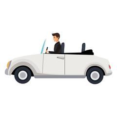 Man driving classic sport car vector illustration graphic design