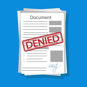 Denied document illustration. Vector.