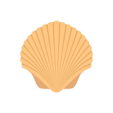 Sea shell, flat design. Vector.